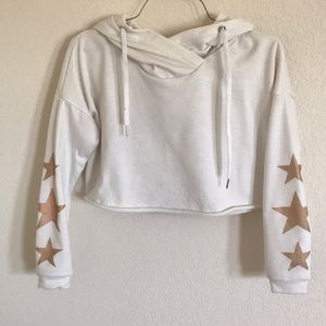 Rue21 White Crop Hoodie With Stars